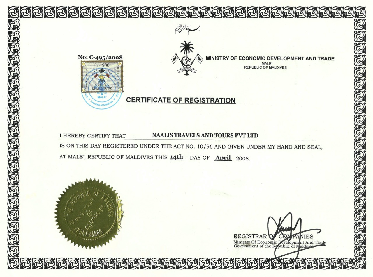 Naalis Travels & Tours Company Registration